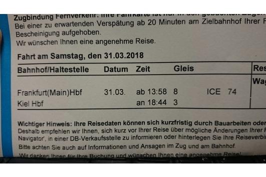 Bahnticket Frankfurt - Kiel